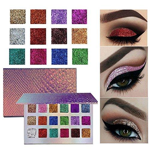 18 Colors Fish Scales Eyeshadow Palette, Woya Shimmer High Pigment Glitter Eye Powder