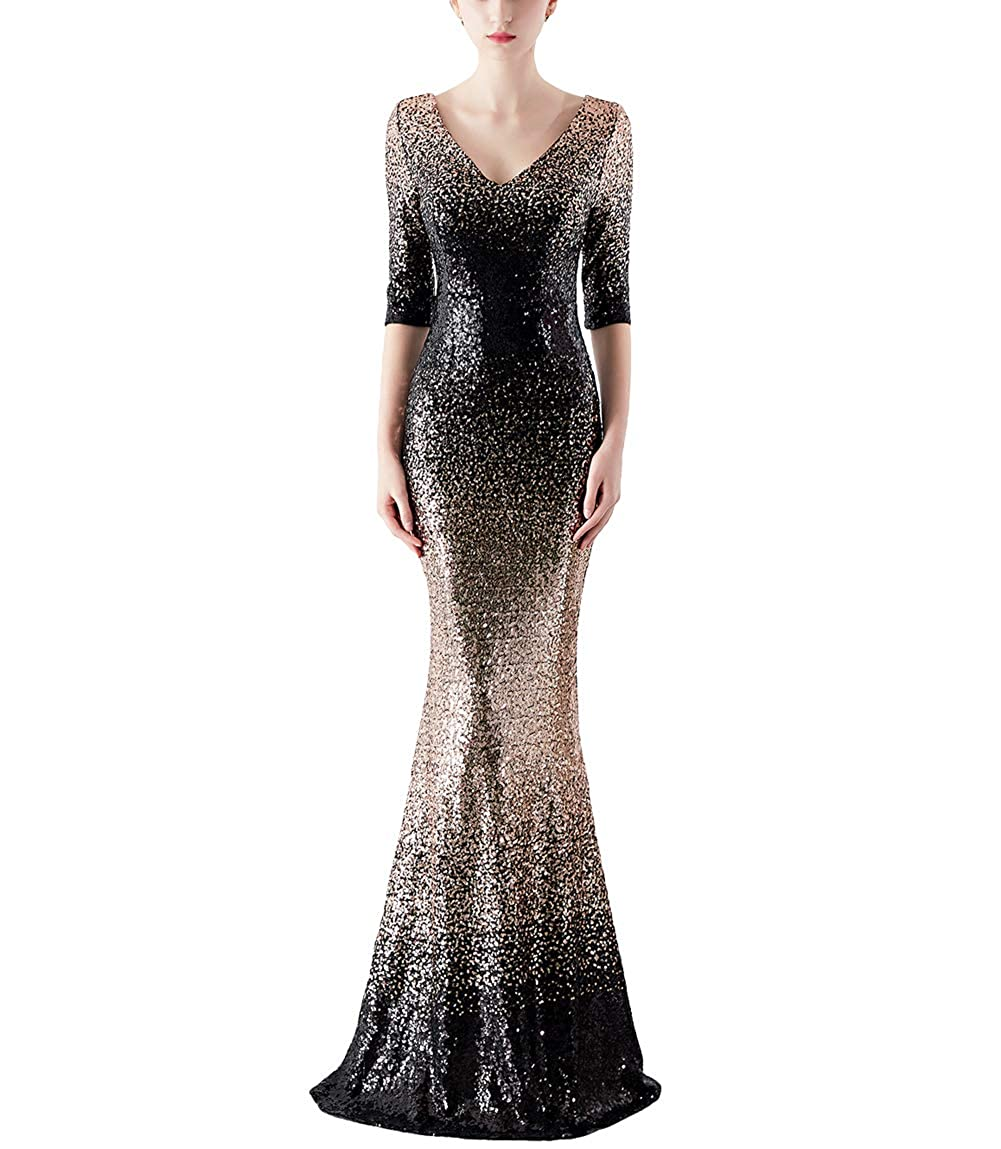 1188blackgold Chowsir Women Sexy Elegant Slim Sequin Long Cocktail Party Evening Dress