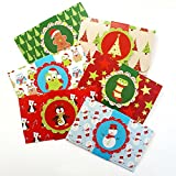 Kids Christmas Holiday Gift Card or Money Holders - Stocking Stuffer Check Cash Envelopes - Set of 6
