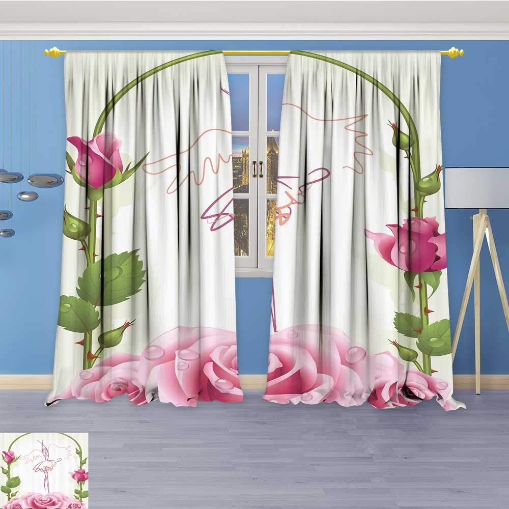 Embossed Thermal Weaved Grommet Blackout Curtains oratis BallDancer Gifts for Ballerinas Dance of iry Wings Theme Gazebo Roses Flower Blocks up to 80% of Sunlight- Premium Draperies 108W x 72L Inch