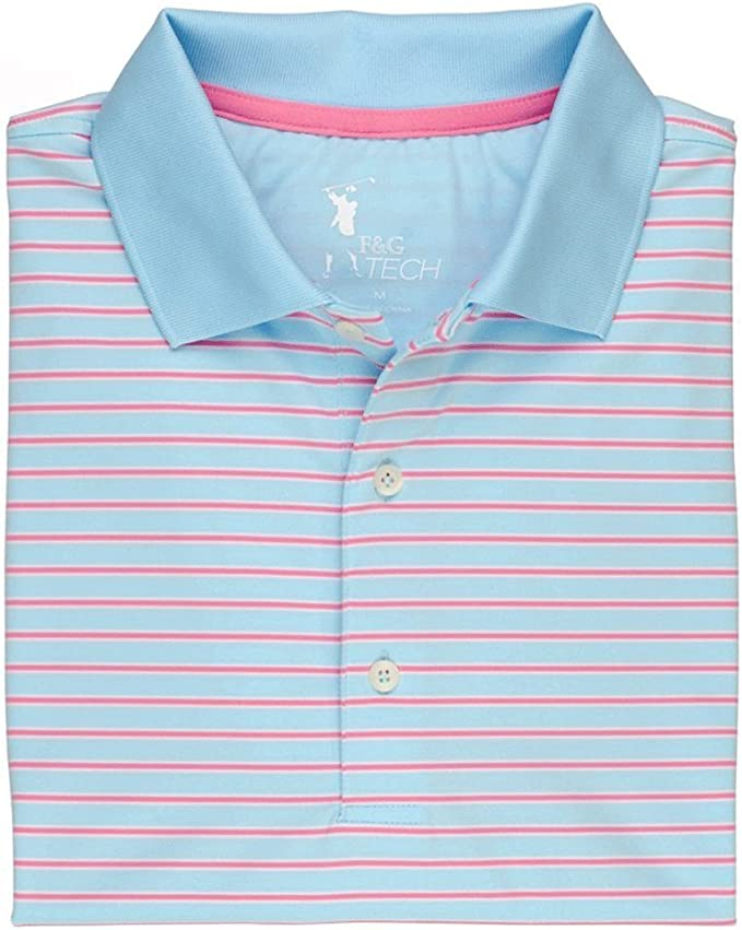 Small Fairway /& Greene Mens Polo Independence Blue Hoover Stripe Tech Jersey