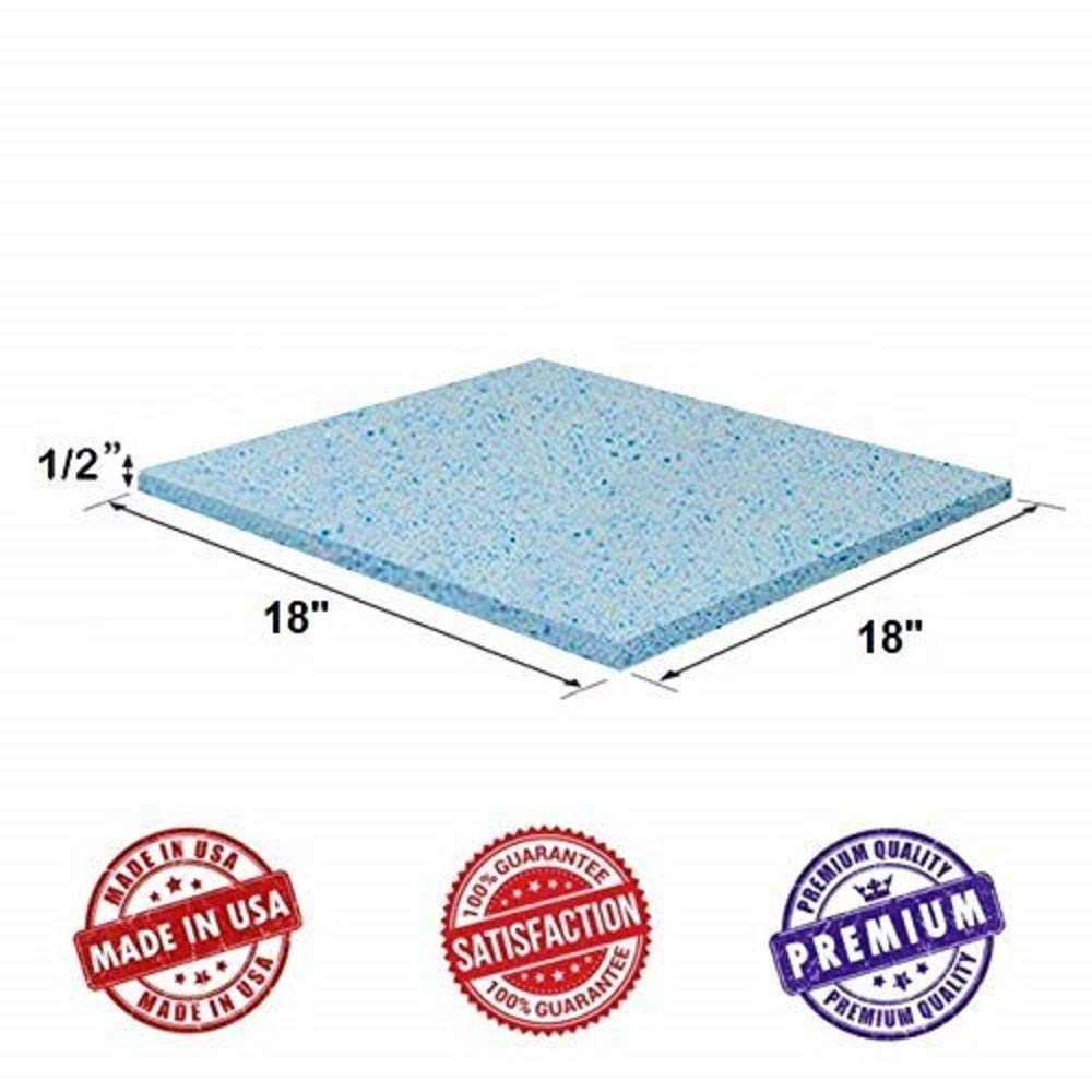 Upholstery Visco Cool Gel Memory Foam Square Sheet 1/2''x18''x18'' - Luxury Quality Good for Sofa & Chair Cushion, Mattresses, Wheelchair, Doctor Recommended for Backache & Bed Sores Dream Solutions USA by Dream Solutions USA