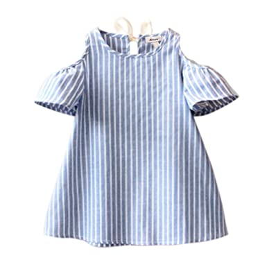 b20c232fc BOBORA Toddler Baby Girl Summer Off Shoulder Stripe Dress Outfit (XS/1-2Y