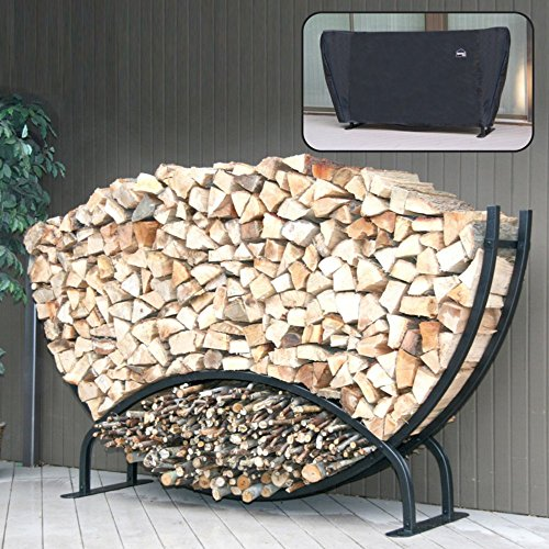 (Shelter It Round Firewood Log Rack with Kindling Wood Holder and Waterproof Cover, 8', Black)
