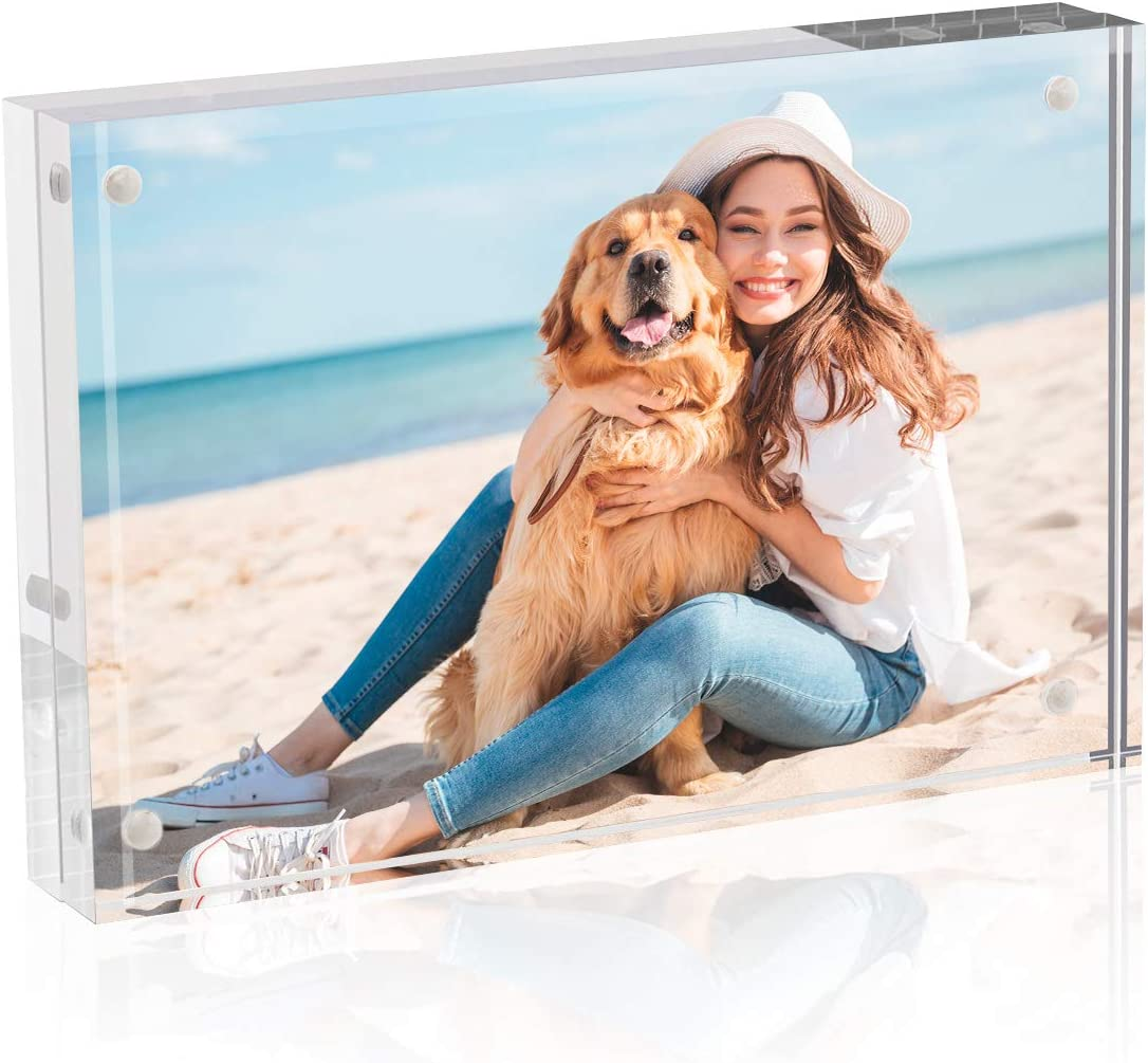 TWING Premium Acrylic Photo Frame Magnet Photo Frame 6x8 4 Magnet Double Sided Photo Frame with Microfiber Cloth,12 + 12MM Thickness Clear Picture Frame Desktop Display