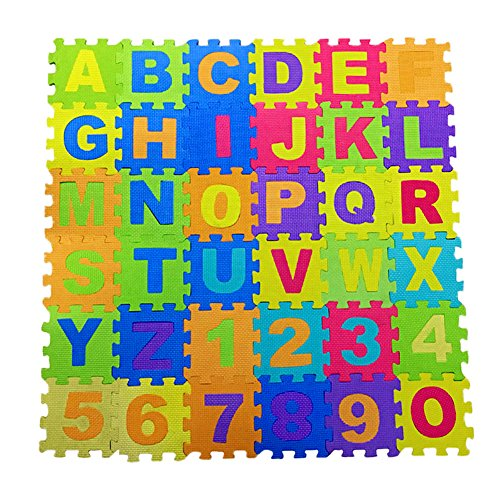 Alphabet and Numbers Foam Puzzle Play Mat,Non-Toxic EVA 36 Piece Multi-Color Children Play & Exercise Mat (Small)