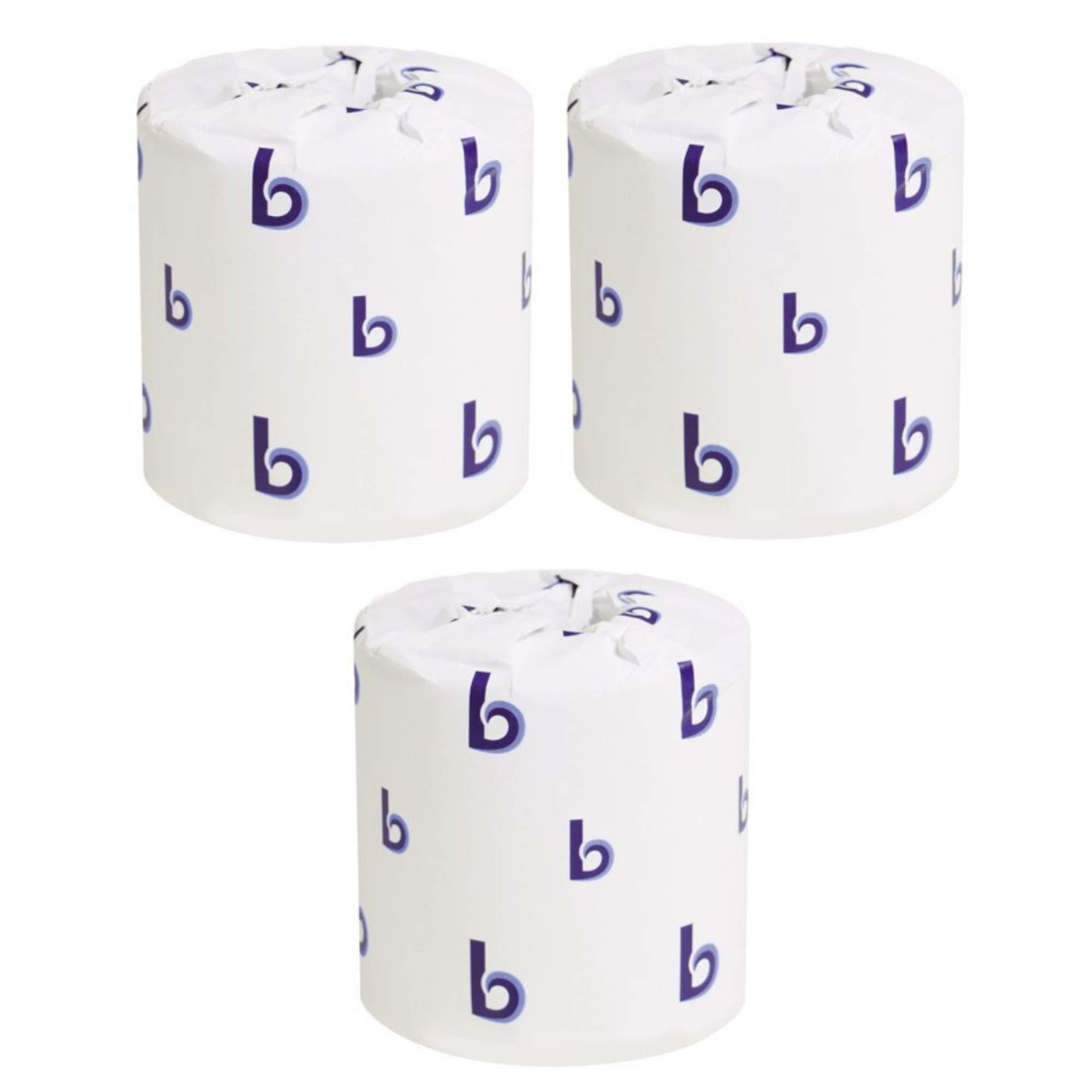 Boardwalk 6180 Two-Ply Toilet Tissue, White, 4 1/2 x 3 Sheet, 500 Sheets Per Roll (Case of 96 Rolls) - 3 Packs