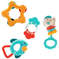 Yzata Baby Rattle Set, Teethers Rattles Toys, 4pcs Babies Grab Shaker and Spin Rattle Toy, Early Educational Toys, Gift for 3, 6, 9, 12 Month Newborn Babies Infants