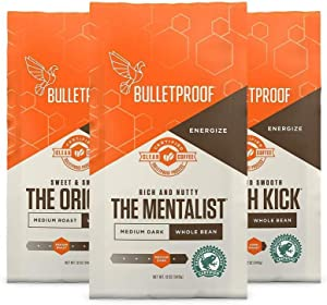 Bulletproof Whole Bean Coffee, 12 Oz Variety Pack, Keto Friendly, Certified Clean Coffee, Rainforest Alliance, 3 Packs of Whole Bean Coffee