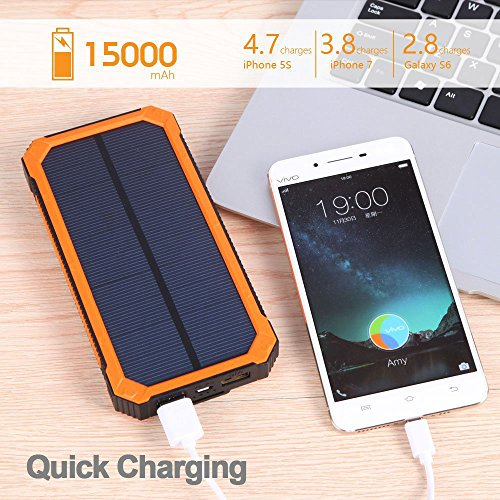 F.DORLA 15000mAh Solar Power Bank, Solar Charger Portable Dual USB Solar Phone Charger, Fast Charging External Battery Pack with 6 LED Flashlight for Cellphones Tablet Camera and More