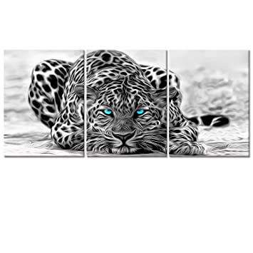 Welmeco Black And White Abstract Leopard With Blue Eyes Animals Wall Art Decor Portrait Wildlife Pictures Canvas Prints Poster Ready To Hang For Room