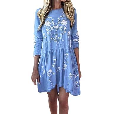 Women Summer Dress, HEHEM Women Ladies Floral Print Lone Sleeve Mini Dress Summer