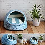 1 Pcs Bang-up Popular Pet Half Covered Bed Size M Indoor Kennel Puppy Tent Warm Sofa Color Type Blue