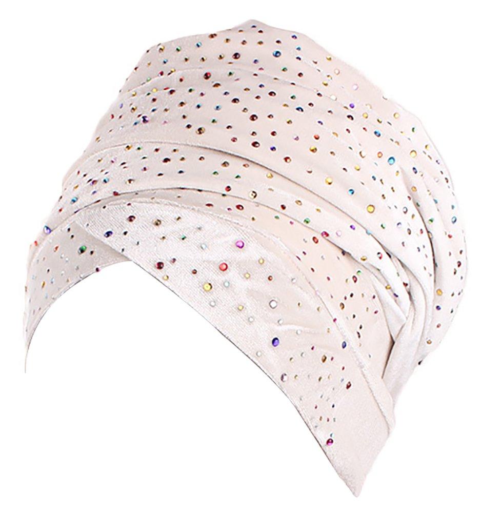 Ababalaya Women's Luxury Velvet Gypsophila Rhinestones Wrapped Turban Muslim Hijab 67×10 Inch,Beige