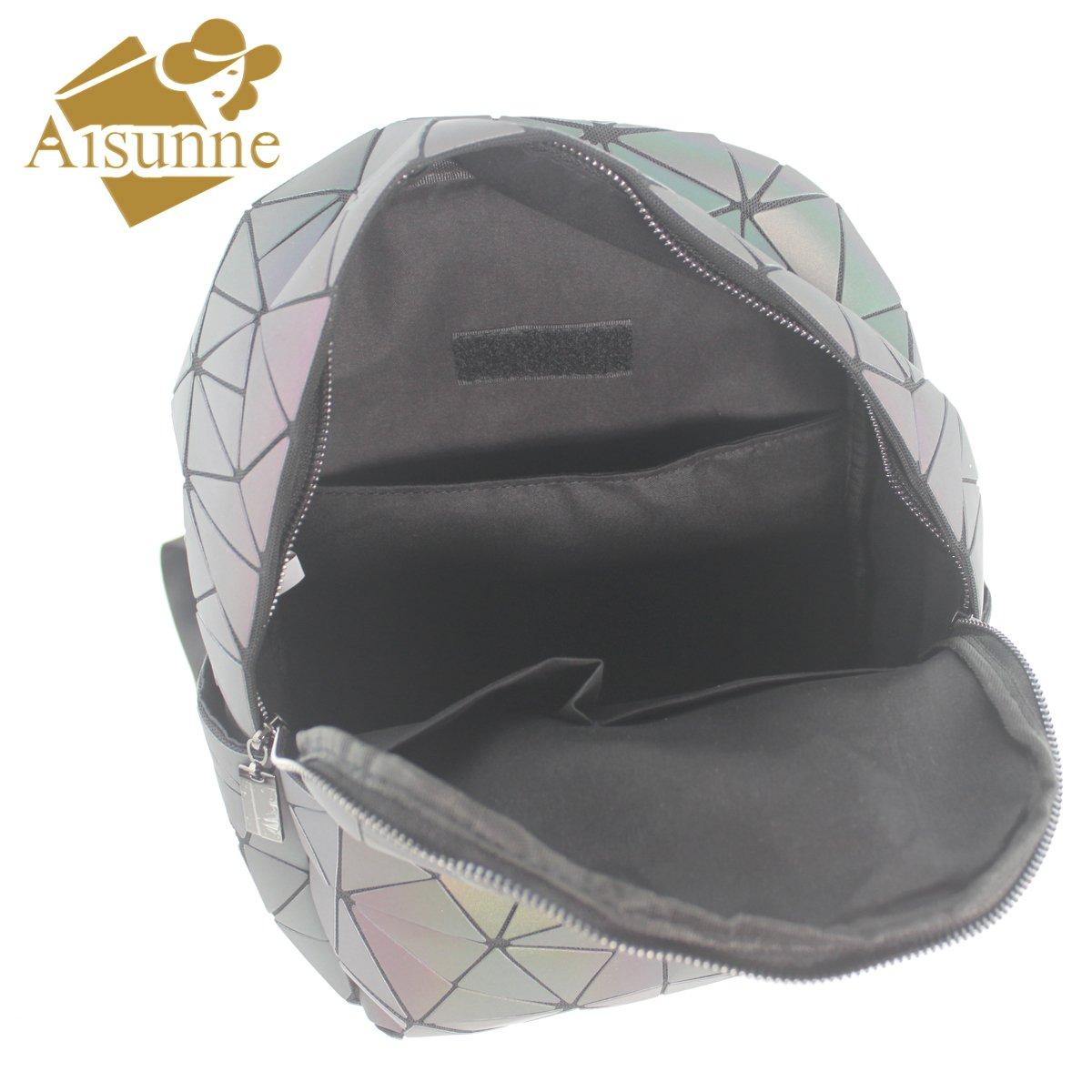 Aisunne Geometric Shard Lattice Luminous Backpack Handbags Leather Women Fashion shoulder Backpack