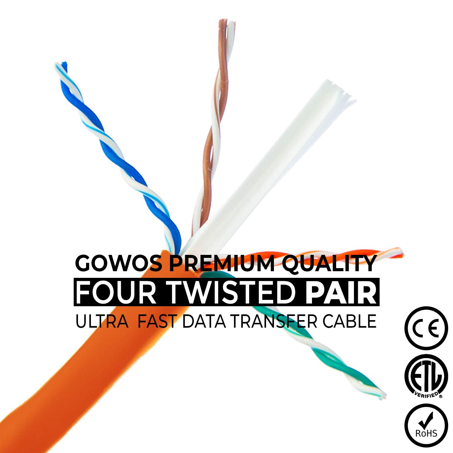 10-Pack - 75 Feet 24AWG Network Cable with Gold Plated RJ45 Non-Booted Connector 350MHz 1Gigabit//Sec High Speed LAN Internet//Patch Cable GOWOS Cat5e Ethernet Cable Orange
