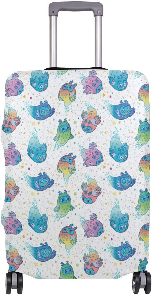 Cute Colorful Owl Ornament Travel Luggage Protector Case Protective Suitcase Cover Elastic Luggage Protector Case Protector,Four Sizes Available