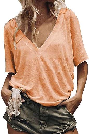 Lurcardo Camisetas Mujer, 2019 Camisas Mujer Blusas para Mujer Verano Sexy Deportes Chaqueta de Costura de la Raya Casual sin Mangas Túnica Tops Shirt Blusa Ropa de Mujer Casual T-Shirt Verano: Amazon.es: