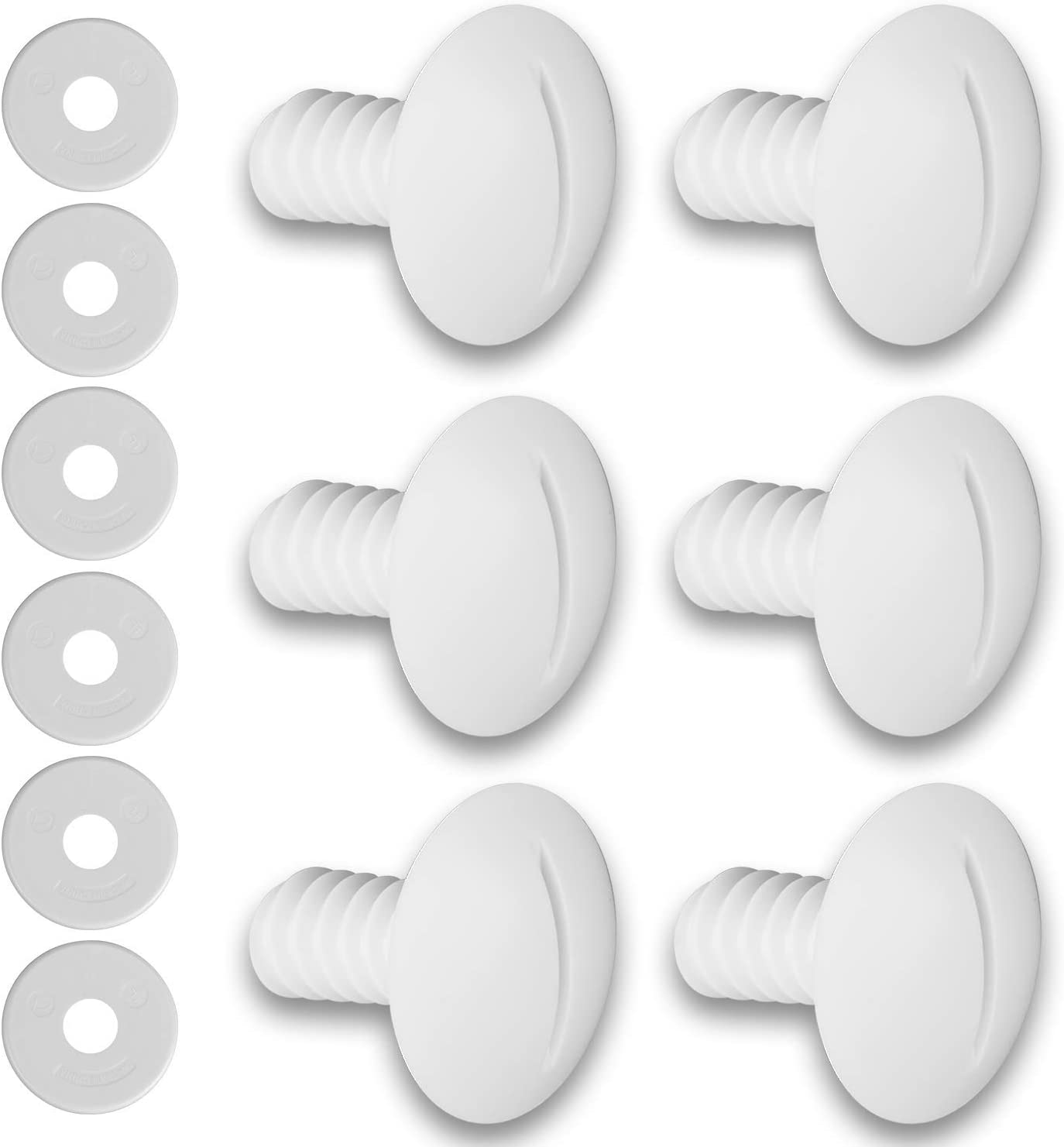 HENMI Plastic Wheel Screws (Pack of 6 Screws) for Polaris Pool Cleaner 180/280 with Extra 6 PCS Washers Pool Cleaner Replacement Parts C55 C-55, White