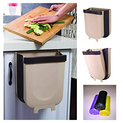 Hanging Trash Can for Kitchen Cabinet Door, 3 Rolls of Plastic Liners Included, Kitchen Counter Trash Can, Collapsible Garbage Can for Bathrooms, Bedrooms, Cars, Trucks and RVs.: Home & Kitchen