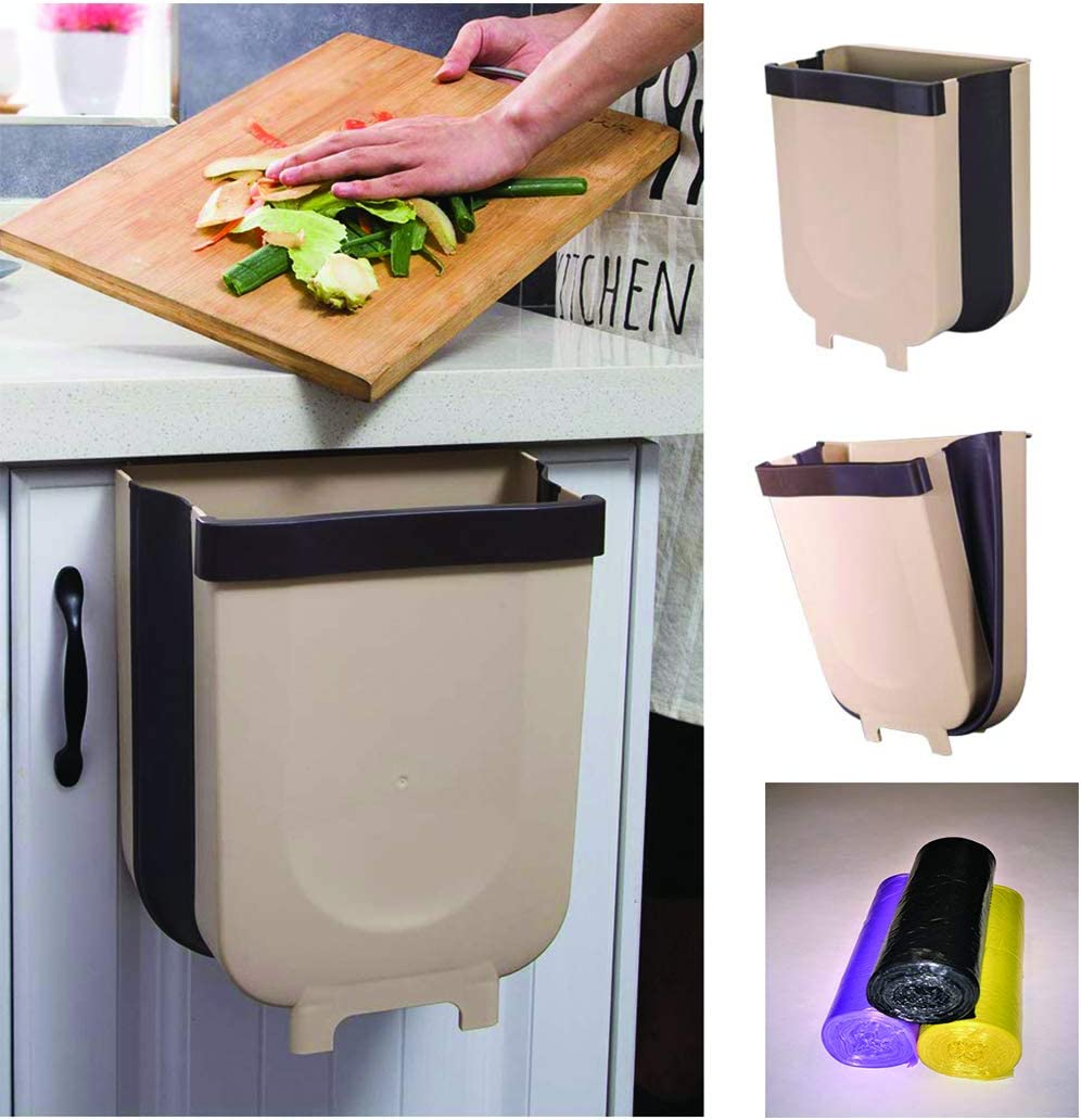 Hanging Trash Can for Kitchen Cabinet Door, 3 Rolls of Plastic Liners Included.