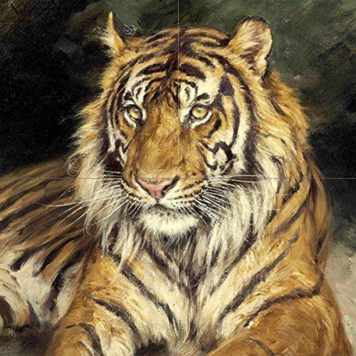 A Reclining Tiger by GEZA Vastagh Animal Predator cat Kitten Tile Mural Kitchen Bathroom Wall Backsplash Behind Stove Range Sink Splashback 2x2 6