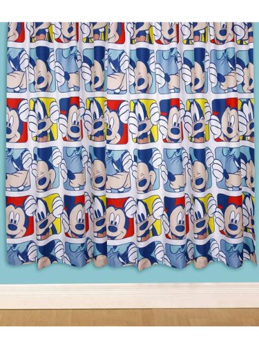 Character World 54-inch Disney Mickey Mouse Play Curtains, Multi-Color