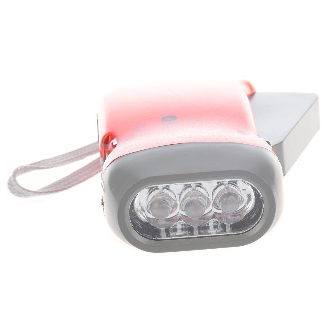 Linterna 3 LED No Bateria con Manivela para Campamento Exterior Rojo TOOGOO R