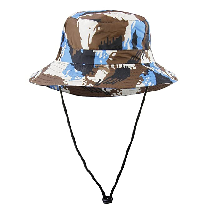 1640d8891306e Unisex Kids Children Outdoor Sports Camouflage Bucket Hat Portable Packable Large  Brim Summer Anti UV Cap