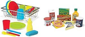 Melissa & Doug Wash & Dry Dish Set,Multi Colored & Fridge Food Set - Wooden Play Food