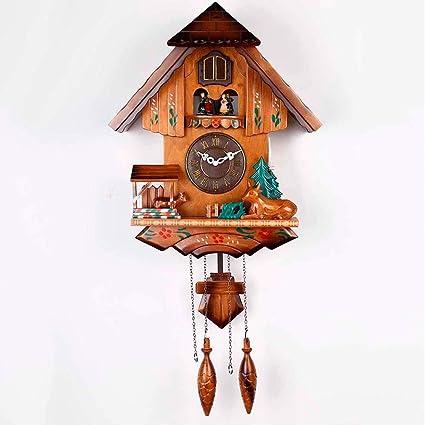 Cuco Reloj De Pared-Relojes De Cuco Europeo-Madera Maciza Mano Tallas Música Reloj