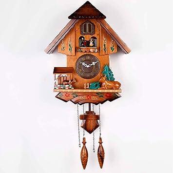 Cuco Reloj De Pared-Relojes De Cuco Europeo-Madera Maciza Mano Tallas Música Reloj Tiempo Regalos para Niños: Amazon.es: Hogar
