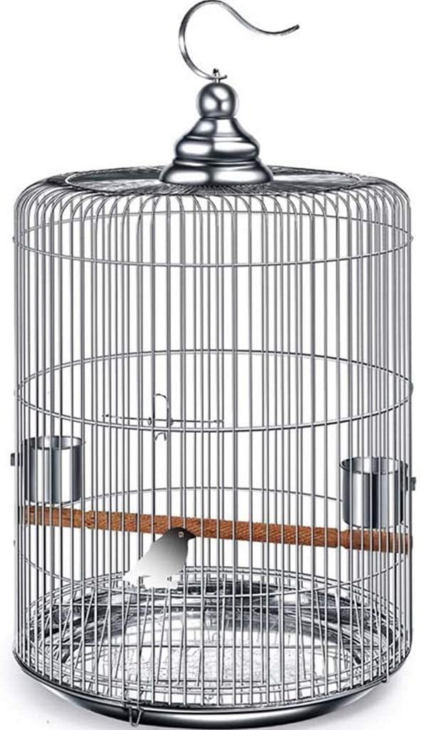 YHRJ Jaula para ninfas Jaulas para Pájaros Baratas,Jaula para Pájaros De Acero Inoxidable, Jaula Grande para Loros De Viaje, Jaula para Pájaros con Perla para Pájaros, 5 Tamaños (Color : Silver 44CM)