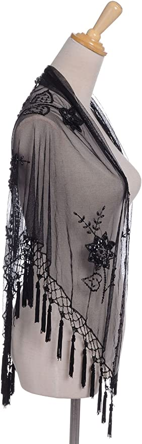 Black Floral Triangle Shawl Sparkly Sequin Silver Beaded Short Scarf Tassels
