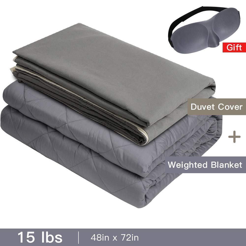 Admitrack Weighted Blanket & Removable Cover Heavy Blanket 100% Cotton Material with Glass Beads for Kids & Adult (Grey Blanket -Cover, 48''x72'',15lbs) by Admitrack