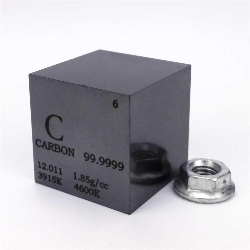 1 inch 25.4mm High Purity Carbon Cube 30grams 99.9999% Engraved Periodic Table Chinaium