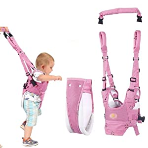 VOOADA Removable Baby Walker Assistant Toddler Leash Kids Walking Baby Belt Child Safety Harness Leash Infant Baby Moon Walk Belt (Pink)