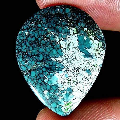 GEMSCREATIONS Tibet Turquoise Pear Cab Untreated Natural