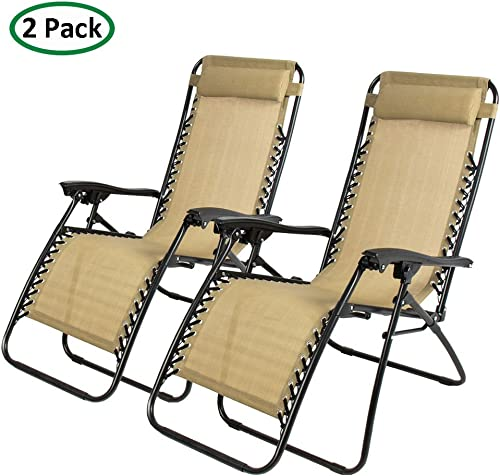 PARTYSAVING 2-Piece Infinity Zero Gravity Outdoor Lounge Patio Folding Reclining Chair, Tan