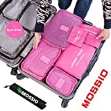 Mossio 7 Sets Packing Cubes for Travel - Bonus Shoe Bag Included - Lightweight & Durable Packing Bags - Great for Carry-on Luggage Accessories (Dark Pink)