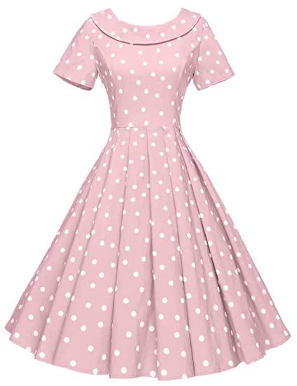 1950s House Dresses and Aprons History GownTown Womens 1950s Polka Dot Vintage Dresses Audrey Hepburn Style Party Dresses $35.98 AT vintagedancer.com