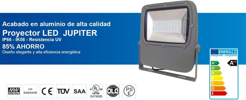 Proyector de diseño fino y compacto Jupiter – LED Samsung, Luz Neutra, 4000K, 18000lm, CRI > 80, IP66, IK08, Fuente de alimentación aislada. (150): Amazon.es: Iluminación