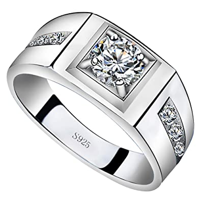 Sterling Silver 925 Silver Men/'s Ring w// Cubic Zirconia High Quality