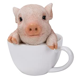 Pacific Giftware Adorable Teacup Pig Pet Pals Collectible Figurine 5.75 Inches