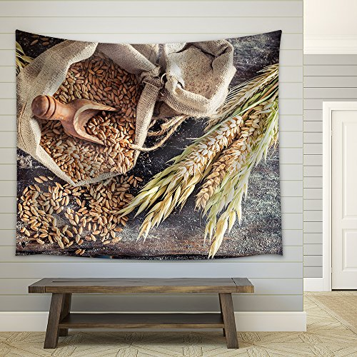 Healthy Ingredients for Rolls and Bread with Whole Grains Fabric Wall Tapestry