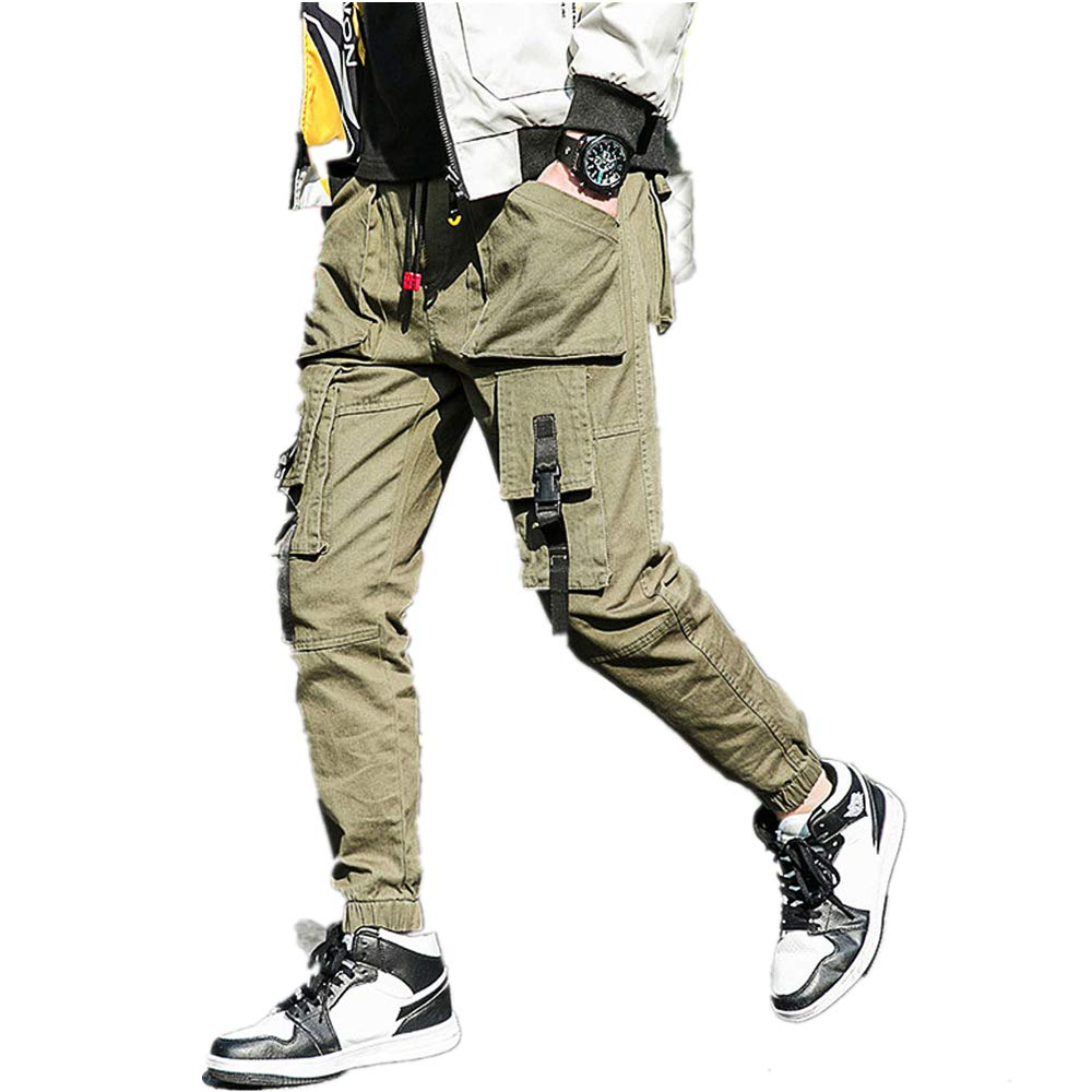 Men's Summer Casual Tooling Pant 6 Pocket Solid Drawstring Classic Closed-Bottom Trousers (XL, Army Green)