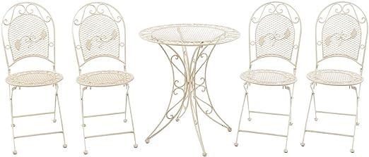 aubaho Juego de Muebles de jardín Mesa y 4 sillas de Hierro Muebles de jardín: Amazon.es: Jardín