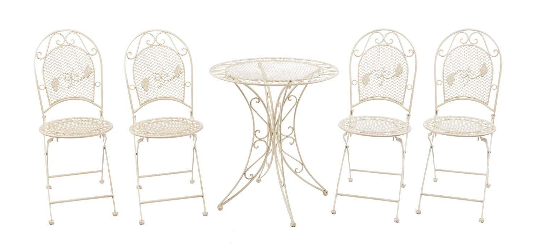 Set Garnitur Garten Tisch Und 4 Stühle Eisen Gartenmöbel Antik Stil Creme  Weiss Jetzt Kaufen