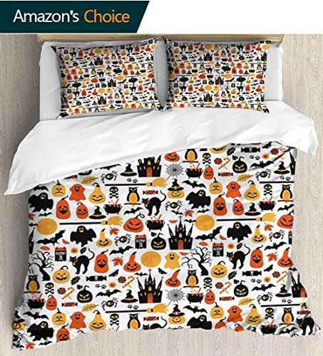 shirlyhome Halloween Cotton Bedding Sets,Halloween Icons Collection Candies Owls Castles Ghosts October 31 Theme Bedding Set for Teen 3PCS 104