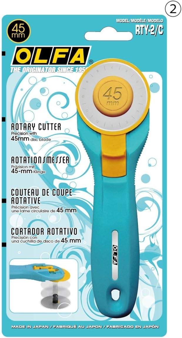 Ruler Mat Olfa RTY-2C//STQR Aqua//Yello Quilting Kit R//L-Hand 45mm Rotary Cutter